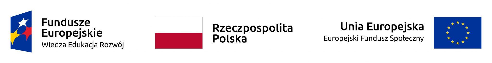 Logo Fundusze Europejskie, Flaga Państwowa Rzeczypospolitej Polskiej, Logo UE EFS