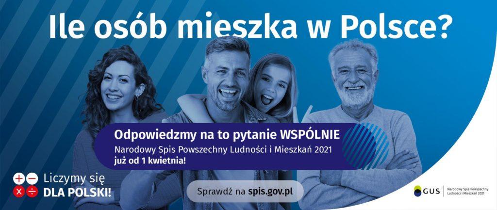 """Banner informacyjny o Narodowym Spisie Powszechnym, osoby na niebieskim tle, napis """"wejdź na spis.gov.pl i spisz się! Spis trwa od 1 kwietnia"""""""