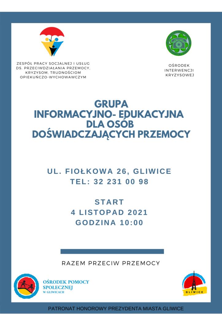 plakat - grupa informacyjno-edukacyjna dla osób doznających przemocy